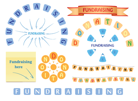 design elements for fundraising and donation - vector set