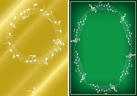 golden and green musical backgrounds with white frames - vector