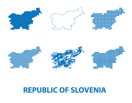 map of Republic of Slovenia - vector set of silhouettes in different patterns