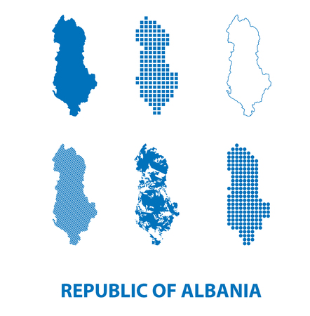 map of Republic of Albania - vector set of silhouettes in different patterns