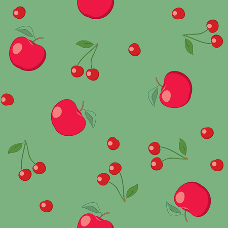 red apples and cherries on green background - seamless vector pattern