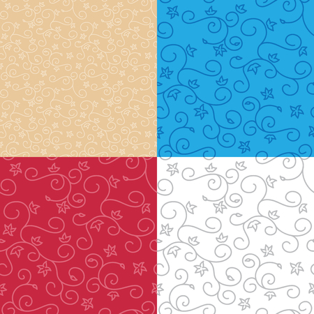 seamless backgrounds with swirl texture - vector set of floral patterns