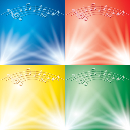abstract backgrounds with light beams and music notes for music events - vector set