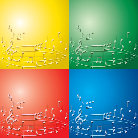 abstract backgrounds with light color music notes for musical events - vector set