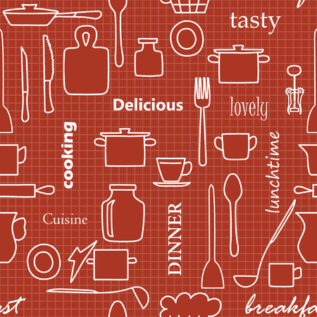 kitchenware and words - dark red vector seamless pattern with white silhouettes