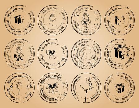 vintage postage stamps happy birthday on german - vector grunge