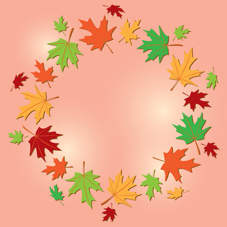 colorful frame of leaves on rosy background - vector