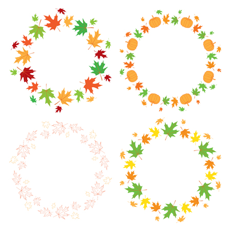 round autumn frames with maple leaves and pumpkins - vector set Illustration