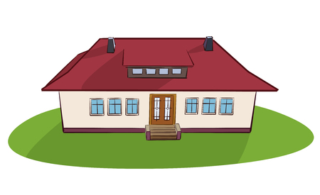 beautiful village house with red roof - vector