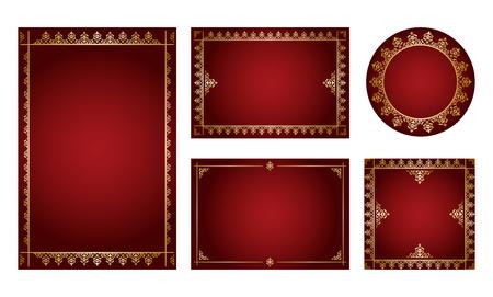 dark red backgrounds with gold ornamental frames - vector set