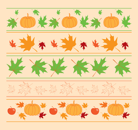 seamless autumn ornaments with maple leaves and pumpkins - vector borders