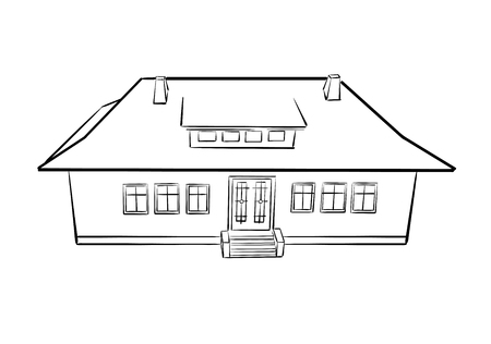 outline of beautiful village house - vector