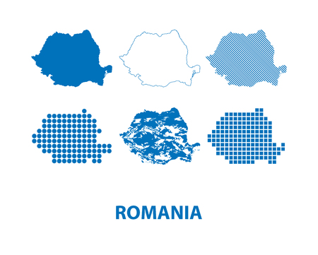 map of Romania - vector set of silhouettes in different patterns