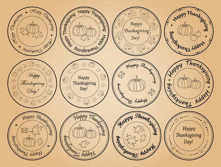 happy thanksgiving day - round vector postage stamps with leaves and pumpkins