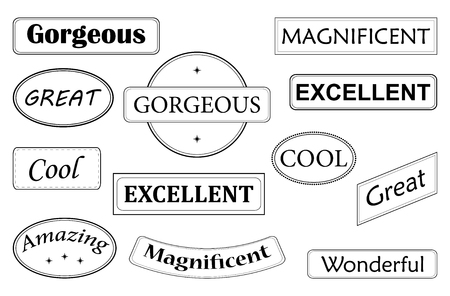 vector set of exclamations words in stamps