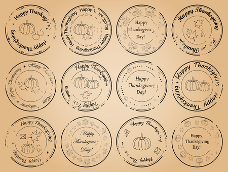happy thanksgiving day - vintage vector postage stamps with leaves and pumpkins