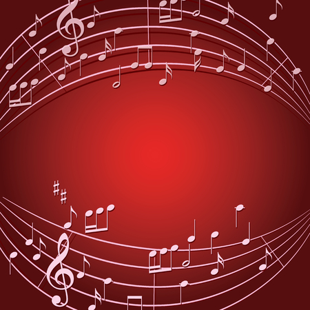 red background with light color music notes for musical events - vector