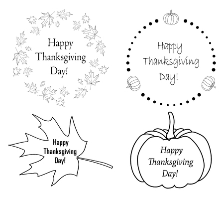 autumn design elements with pumpkins and leaves for thanksgiving day - vector