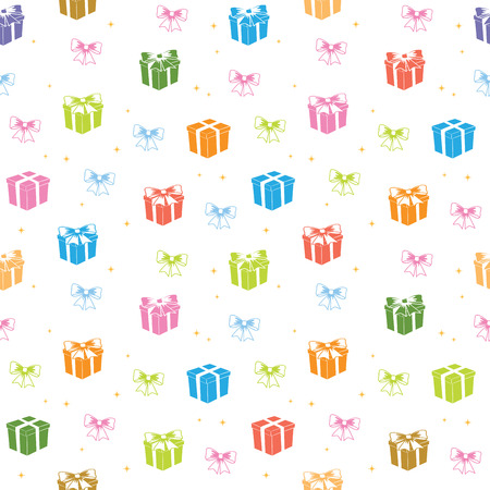 white seamless pattern with color gifts - vector holiday background