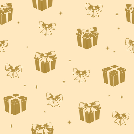 olive color seamless pattern with gifts - vector holiday background