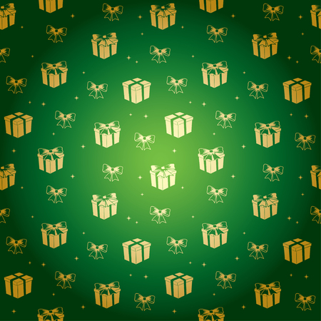 green gradient pattern with golden gifts - vector holiday background