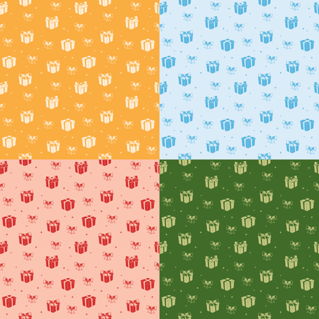 set of seamless patterns with color gifts - vector holiday backgrounds