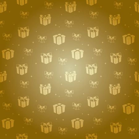 gold gradient pattern with golden gifts - vector holiday background Illustration
