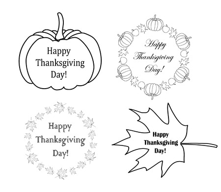 decorative design elements with pumpkins for thanksgiving day - vector