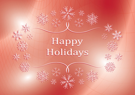 happy holidays - abstract vector red greeting card with snowflakes