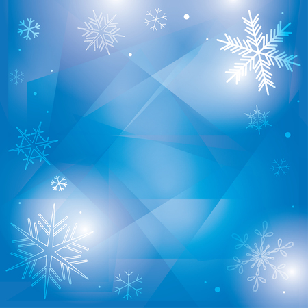 abstract blue winter background with beautiful snowflakes - vector