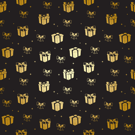 black pattern with golden gifts - vector holiday background