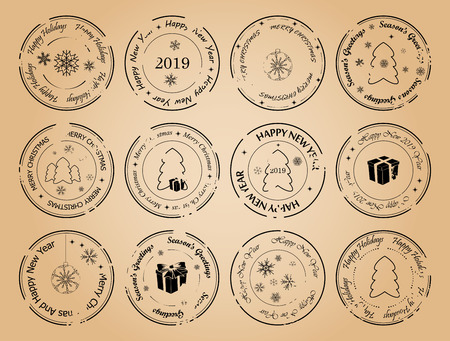 happy new year and merry christmas - grunge vector postage stamps with snowflakes and fir trees