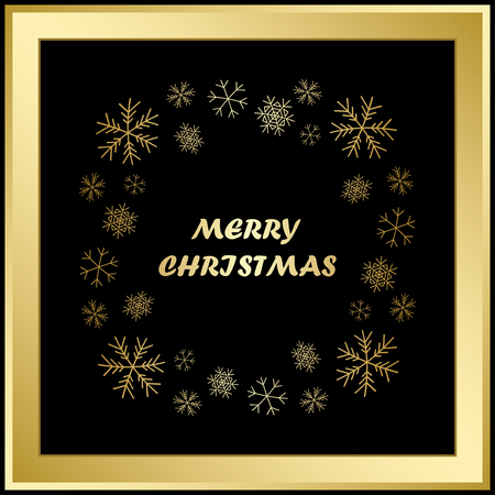merry christmas - vector greeting card with snowflakes and gold frame