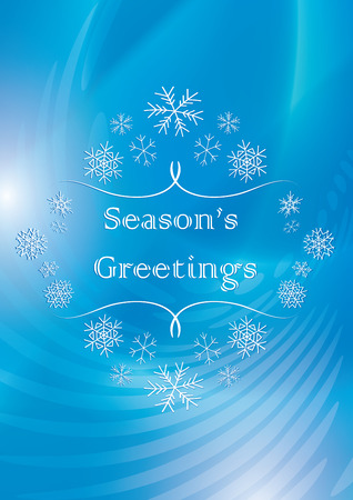 season greetings - abstract vector blue greeting card with snowflakes