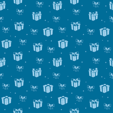blue seamless pattern with light color gifts - vector holiday background
