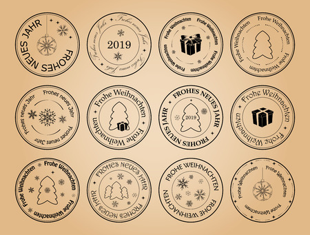 happy new year and merry christmas - vector postage stamps with snowflakes on german. Frohes neues Jahr. Frohe Weihnachten. Illustration
