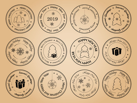 happy new year and merry christmas - round vector postage stamps with snowflakes and fir trees