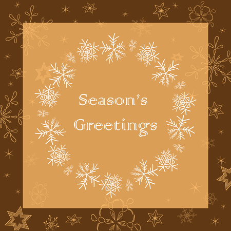 beige and brown season greetings - vector greeting card with snowflakes Illustration