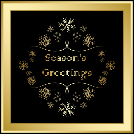 season greetings - vector greeting card with snowflakes and gold frame