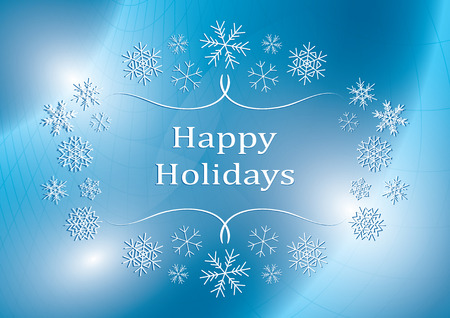 happy holidays - blue vector greeting card with snowflakes Illustration
