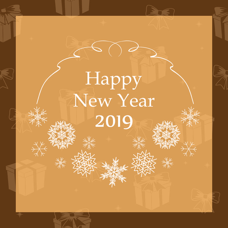 happy new year 2019 - vector greeting card with snowflakes Illustration