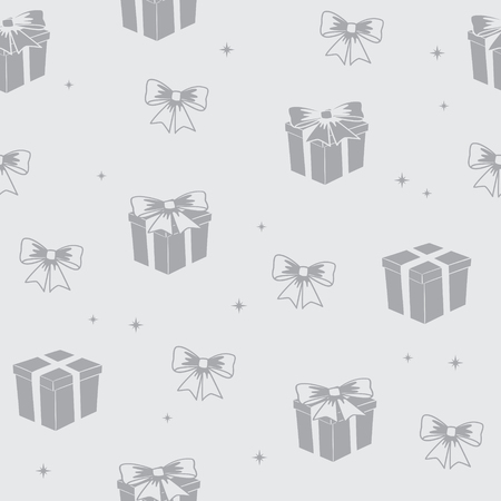 gray seamless pattern with gifts - vector holiday background