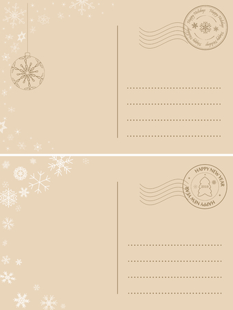 light brown postcards for winter holidays - vector holiday backgrounds Illustration