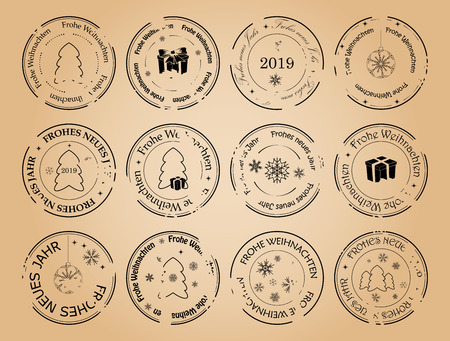 happy new year and merry christmas - grunge vector postage stamps with snowflakes on german. Frohes neues Jahr. Frohe Weihnachten. Illustration