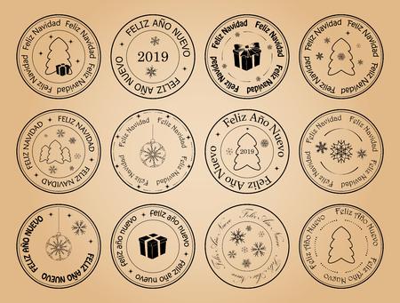happy new year and merry christmas - vector postage stamps with snowflakes on spanish. Feliz ano nuevo. Feliz navidad.