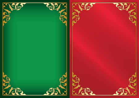 green and red vector backgrounds with gold ornamental frame and gradient