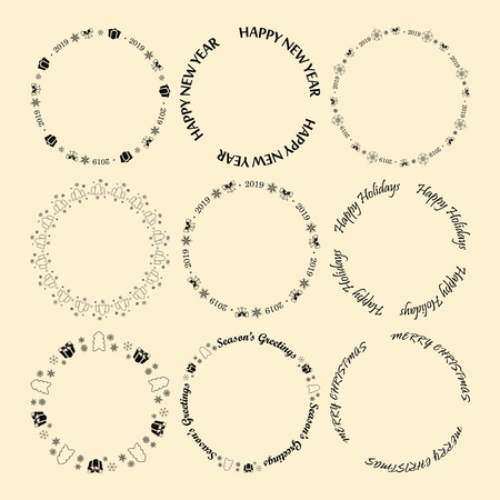 round vector decorative frames for christmas and new year with greetings and snowflakes