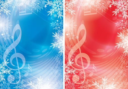 blue and red vector flyers with music notes and snowflakes - christmas backgrounds