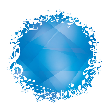 abstract blue vector background with white round music decorative frame and musical notes