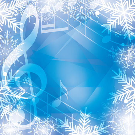 blue vector background with music notes and snowflakes for christmas holidays
